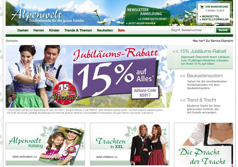 Alpenwelt-Versand | JubilAi??umsrabatt auf Trachtenmode